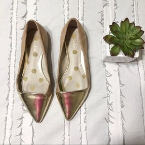 anthropologie boden   gold dipped suede flats